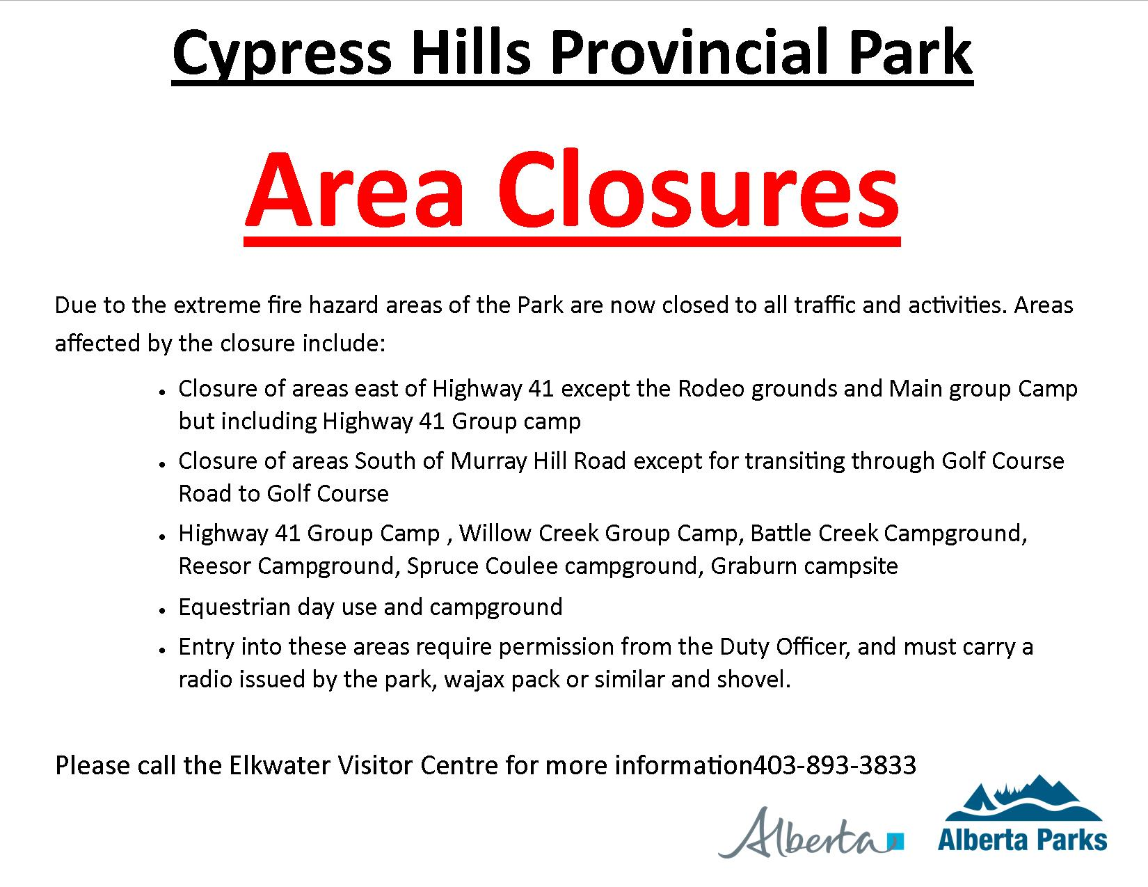 Advisory: Area closures