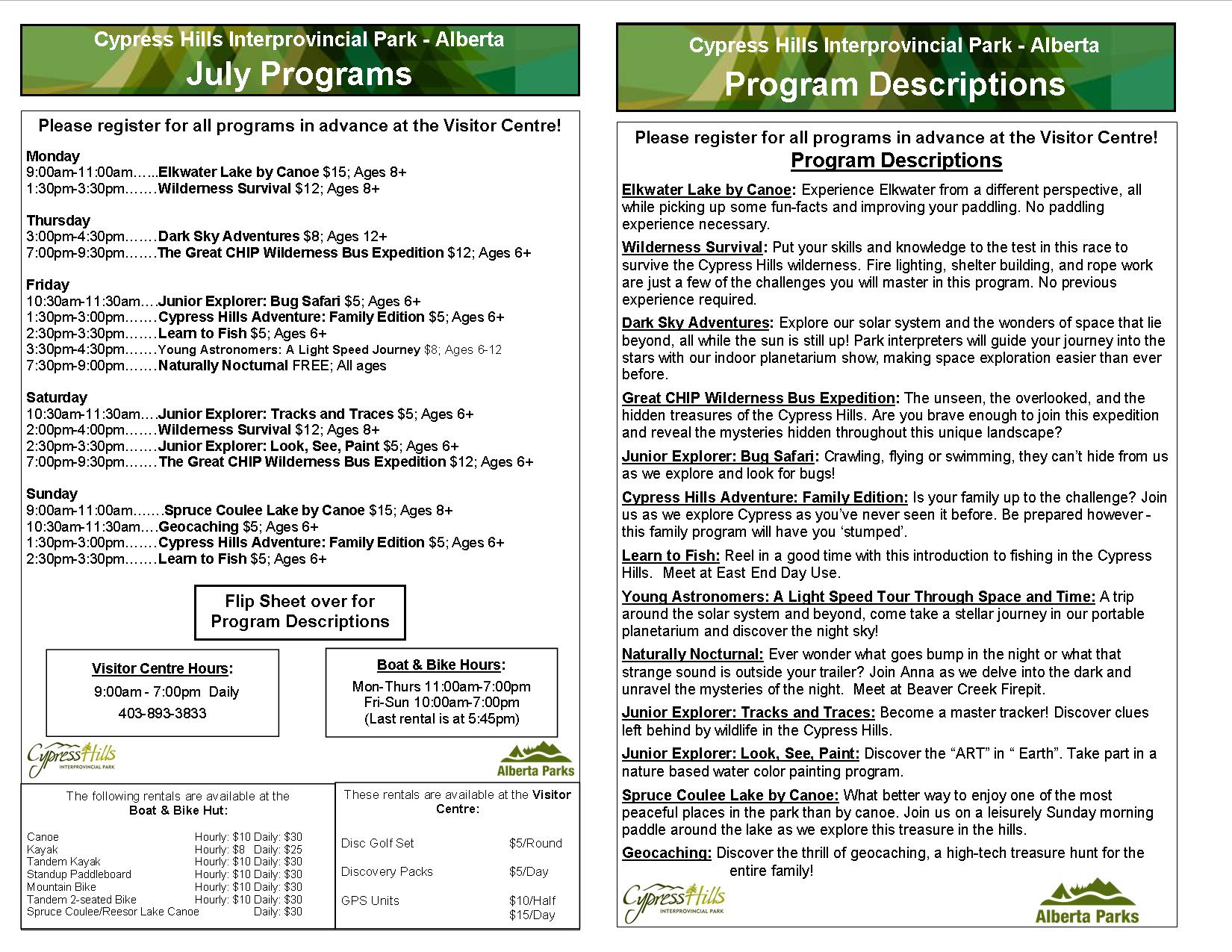 Fun Programs for July and August