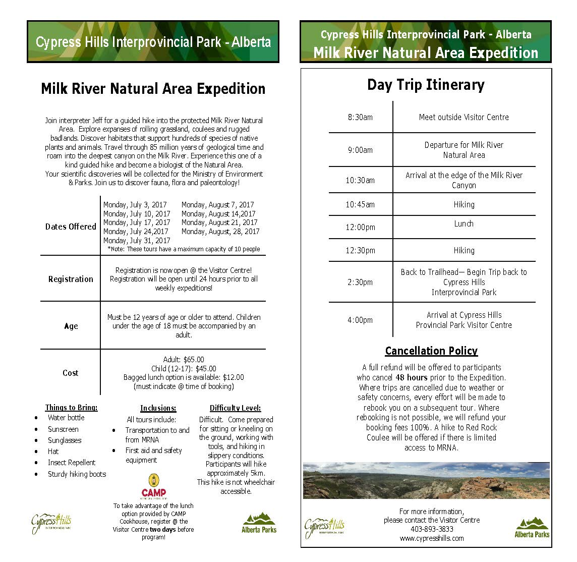 Milk River Natural Area Expedition 2017